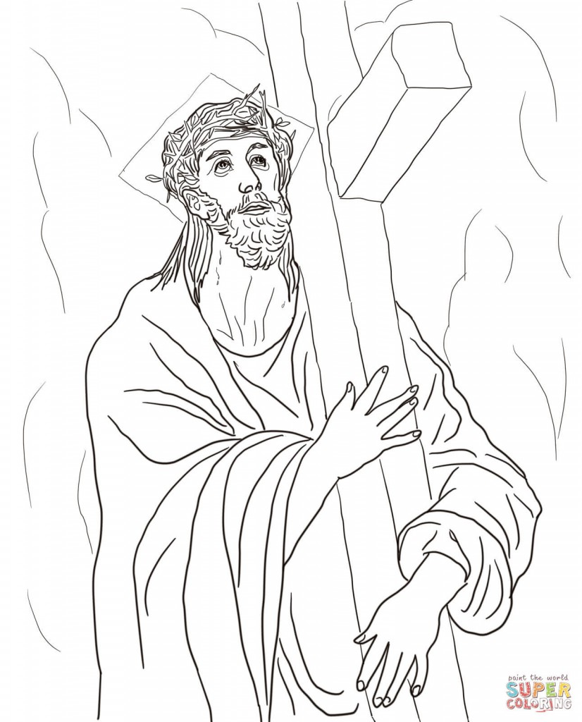 2-second-station-jesus-carries-his-cross-by-el-greco-coloring-page
