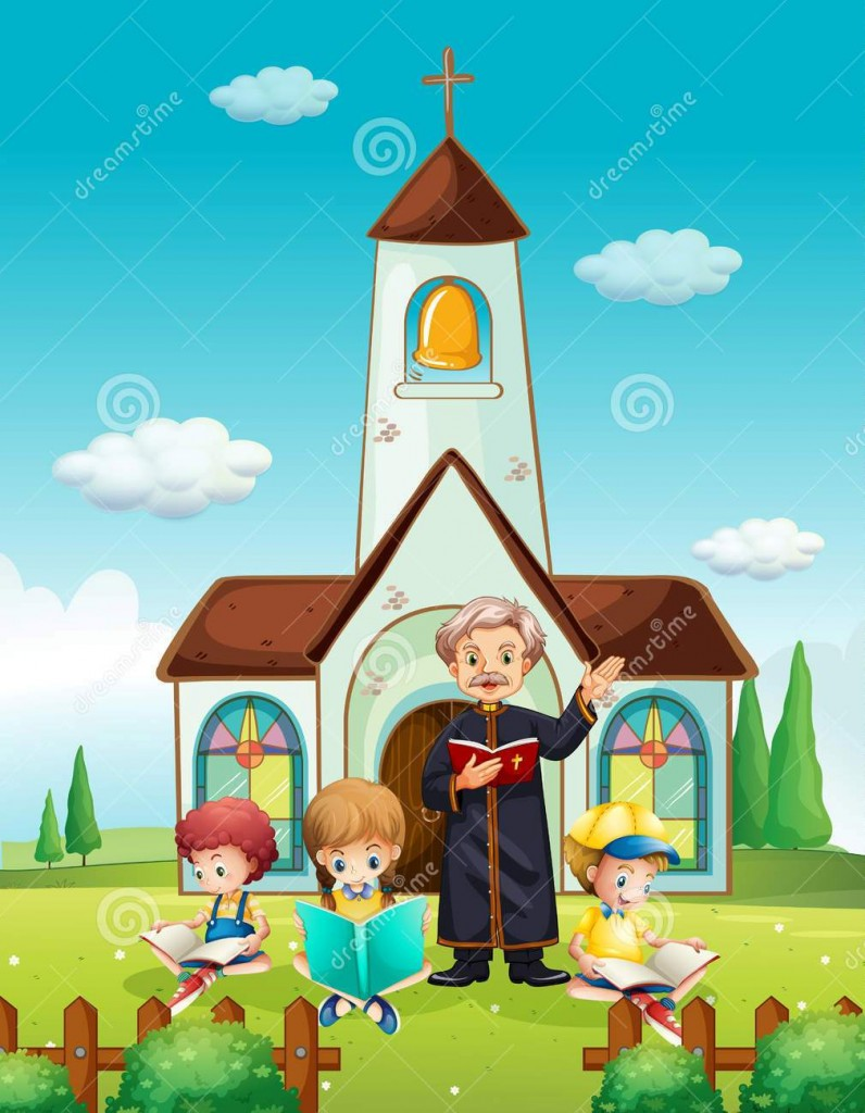 http://www.dreamstime.com/royalty-free-stock-photography-priest-children-church-illustration-image70929567